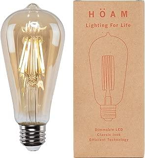Edison Bulb from HOAM Lighting, Dimmable LED Filament, Antique Style, 6W LED 60W Incandescent Equivalent, 4000K Neutral White Color, ST18 ST64, E26 E27 Screw Cap, 110V 120V
