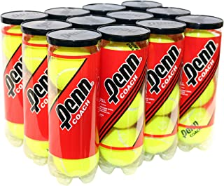 Penn Coach Pressurized Tennis Balls - Regular Duty Felt Practice & Training Tennis Balls - 12 Cans, 36 Balls