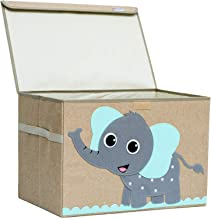 Hurricane Munchkin Large Toy Chest. Canvas Soft Fabric Children Toy Storage Bin Basket with Flip-top Lid. Collapsible Gray Toy Box for Kids, Boys, Girls, Toddler and Baby Nursery (Elephant)