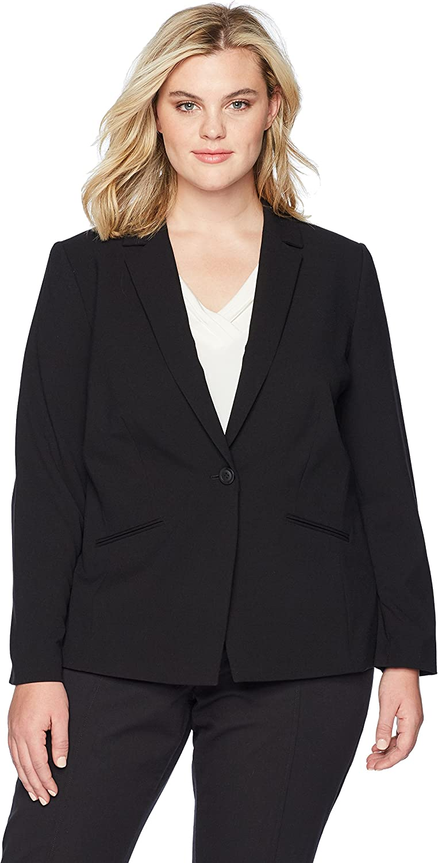 Tahari Womens Plus Size BiStretch One Button Jacket with Pinstripe Lining Blazer