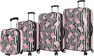 "Betsey Johnson 4 Pieces Luggage Set - ABS+PC Hardside Lightweight Durable Rolling Suitcase with Spinner Wheels - Set Includes; 15"", 20"", 26"", 30"""