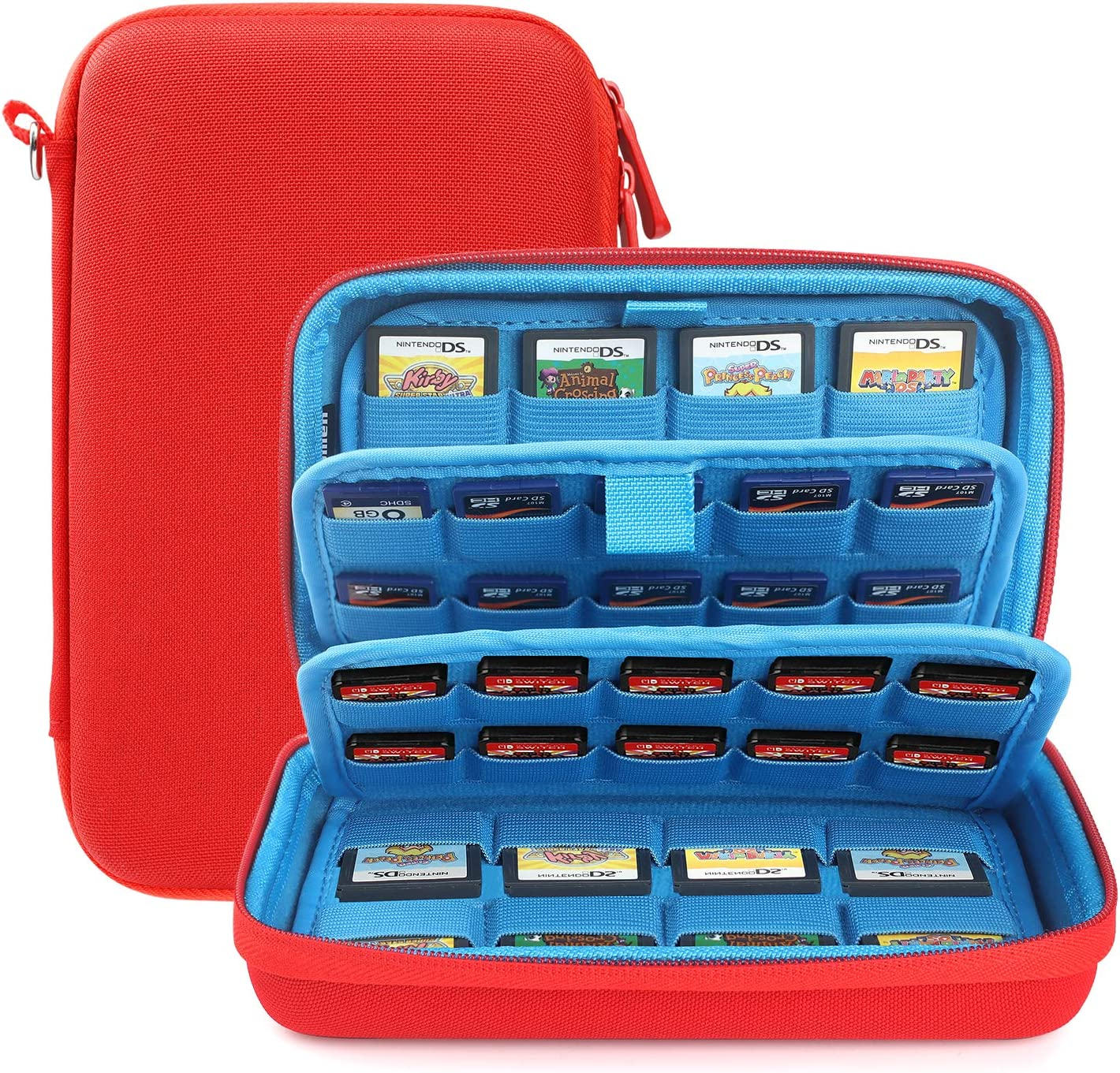 momen Game Case Have 72 in 1Game Cartridge Holders Storage Bag for Nintendo Swicth 3DS/2DS/DS /PS Vita Micro/SD Memory Cards.( Red)