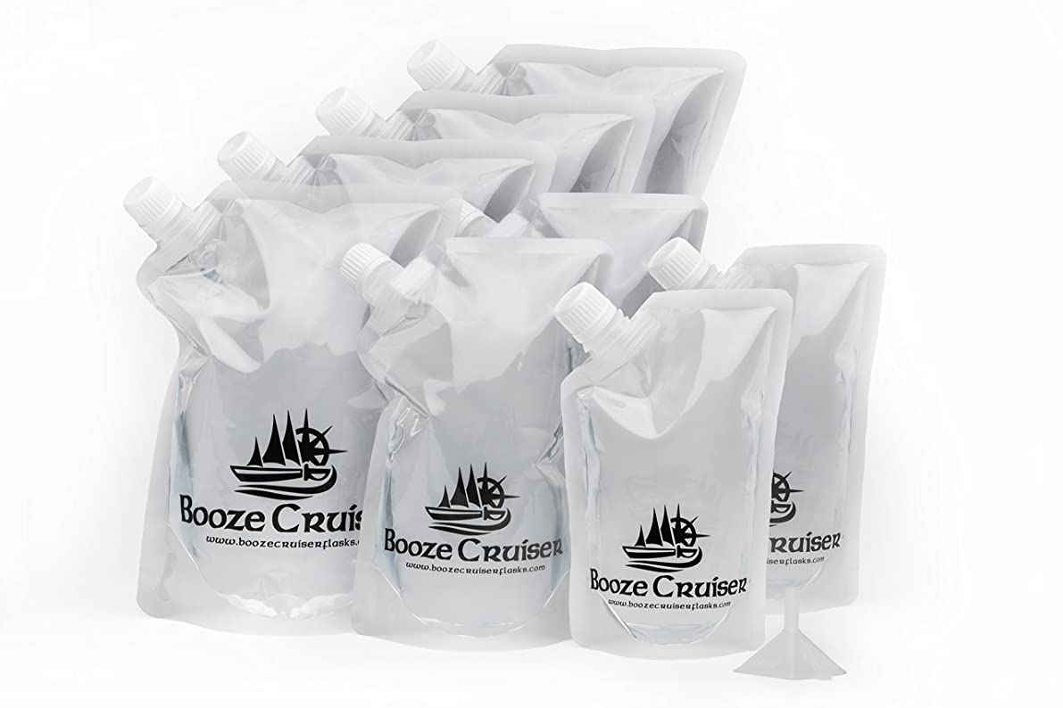 Booze Cruiser Flask Set Perfect For Cruises and Travel or Anywhere You Want a Rum Runner Cocktail Plastic Flask Kit (4x32oz, 2x16oz, 2x8oz + Funnel)