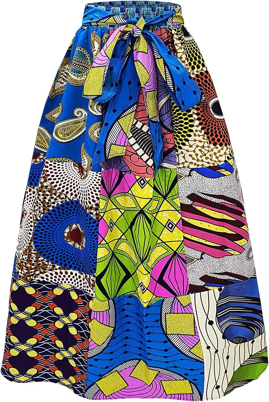 DOAFRIAFRI Women African Wax Print High Waist Maxi Skrit Ankara Patchwork Skirts with Pockets and Tie Belt One Size