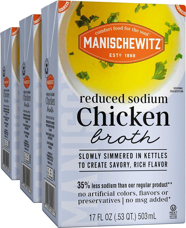 Manischewitz Reduced Sodium Chicken Broth 17oz (3 Pack), Flavorf