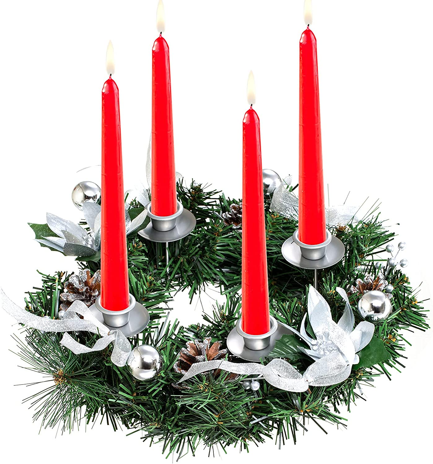 Sucpur Christmas Advent Candlestick 13.3inch Wreath Candles Hol Sale price List price