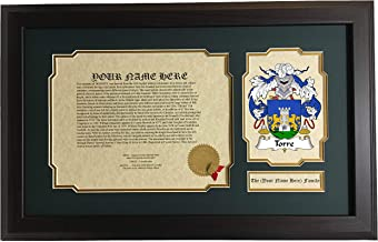 Torre - Coat of Arms and Last Name History, 14x22 Inches Matted and Framed