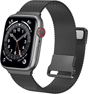 Ycysh Metal iwatch Bands Compatible with Apple Watch Bands 42mm 44mm for Women Men, Stainless Steel Mesh Loop Adjustable Magnetic Strap Replacement for iWatch Series 6 5 4 3 2 1 SE (42/44mm-Black)