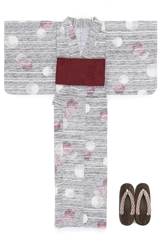 (ソウビエン) 浴衣 セット レディース 灰色 グレー 白 雪輪 横縞 綿 半幅帯 マクレ ボヌールセゾン
