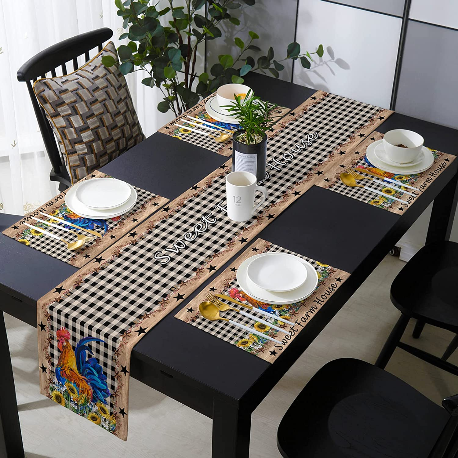 Table Runner with Placemats Set Import Rooster Rustic Countryside Max 40% OFF of 4