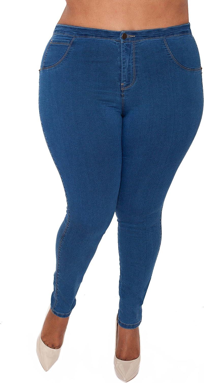 Cenia Women's Convi Jean with Adjustable Waist (XL, Medium Wash)