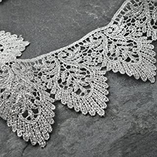 """2-Yards 3"""" Metallic Lace Trim for Bridal, Costume or Jewelry, Crafts and Sewing, LP-MX-3399 (Silver)"""