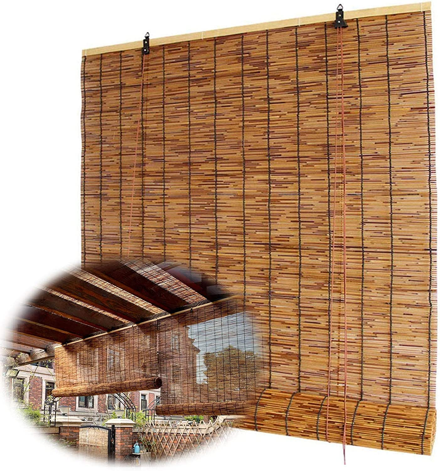 YUANJJ Bamboo 海外輸入 Roller Blinds - 開店祝い Decora Reed Retro Shades Natural