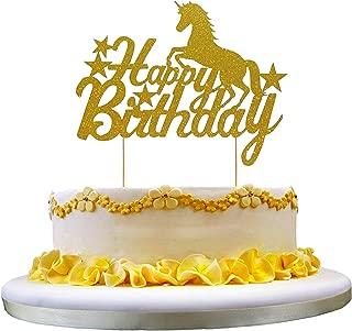 NN-BH Unicorn Happy Birthday Cake Top Hat Golden Flash Birthday Party Decoration
