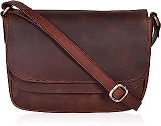 Braune Echtleder-börsen und Handtaschen - Leder Crossbody Taschen für Frauen
