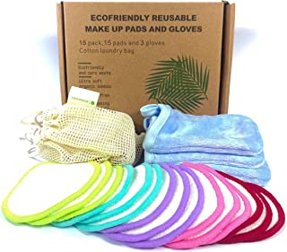 Reusable make up remover pads and gloves | 18 pack | Soft
