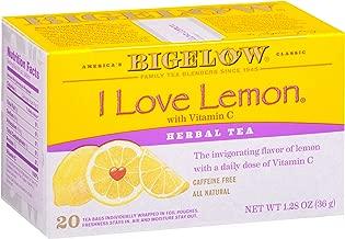 Bigelow I Love Lemon Herbal Tea Bags 20-Count Boxes (Pack of 6), 120 Tea Bags Total.  Caffeine-Free Individual Herbal Tisane Bags, for Hot Tea or Iced Tea, Drink Plain or Sweetened with Honey or Sugar