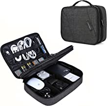 Electronic Organizer, BAGSMART Accessories Organizer Travel Double Layer Electronics Bag Large for 10.5 inch iPad Pro, Adapter, Cables, Black