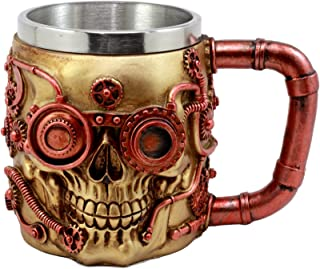 Ebros Gift Golden Steampunk Detective Skull Coffee Mug Mechanical Gearwork Pipeline Design Beer Stein Tankard Drink Cup 14oz