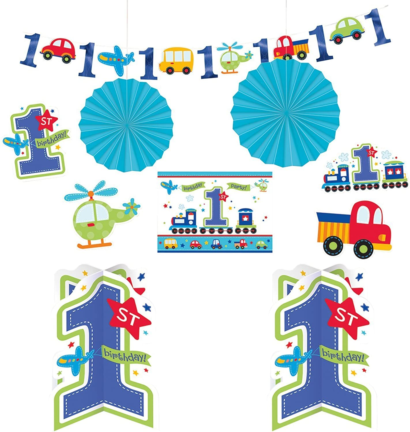 Amscan 240445 All Aboard Birthday Room Decorating Kits, Multi color, Assorted Sizes