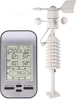Mingtech Wireless Weather Station Anemómetro inalámbrico de estación meteorológica con Sensor de dirección de Velocidad del Viento Temperatura Digital de enfriamiento del Viento