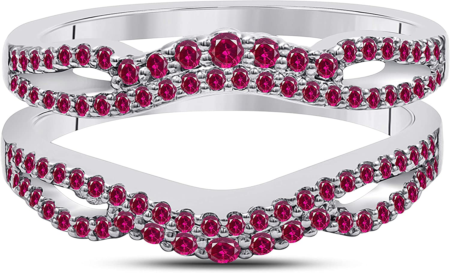 DS Jewels Women's 0.75 Cheap CT Created Ruby Round Gold All Plated Columbus Mall 14K
