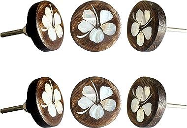 Set of 6 MOP Wooden Knobs Hibiscus Flower Decorative Antique Knobs for Home Kitchen Cabinet Cupboard Glass Door Dresser Wardr