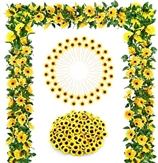 Auihiay Sunflower Wedding Decorations with 2 Artificial Sunflower Garland, 100 Silk Sunflower Heads, 48 Sunflower Cupcake Toppers for Home Wedding Baby Shower Decoration