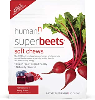 HumanN SuperBeets Soft Chews | Grape Seed Extract and Non-GMO Beet Powder Helps Support Healthy Circulation, Blood Pressur...