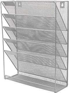 PAG Hanging Wall File Holder Mail Sorter Magazine Rack Office Supplies Metal Mesh Desk Organizer, 6 Tier, Silver
