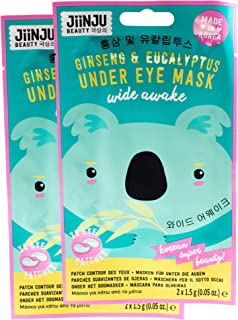 Jiinju Beauty Korean Wide Awake Ginseng & Eucalyptus Under Eye Mask, Pack of 2