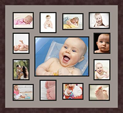 Art to Frames Double-Multimat-340-119//89-FRBW26061 Collage Frame Photo Mat Double Mat with 6-3.5x5 and 1-10x13 Openings and Espresso Frame