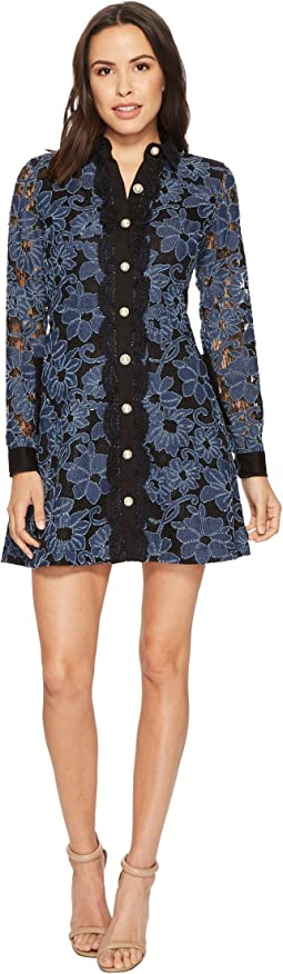 Laundry by Shelli Segal Denim Lace Fit and Flare