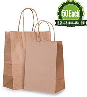 6.25x3.5x8 & 8x4.5x10.5 Brown Kraft Paper Gift Bags Bulk with Handles [50 Each]. Ideal for Shopping, Packaging, Retail, Party, Craft, Gifts, Wedding, Recycled, Business, Goody and Merchandise Bag