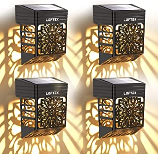 LOFTEK Lampe Murale Solaire Exterieur Éclairage Extérieur Sans Fil IP54 Lumière Fleur Creuse Rétro Décorative pour Mur, Cl...