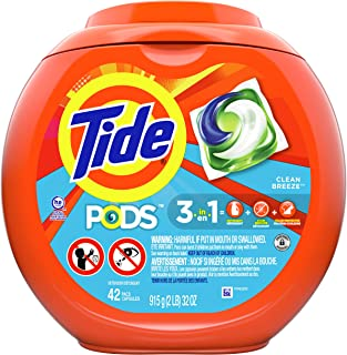 Tide PODS, Laundry Detergent Liquid Pacs, Clean Breeze, 42 Count - Packaging May Vary