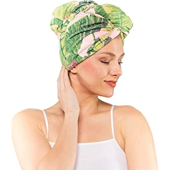 Kitsch Microfiber Hair Towel Wrap for Women, Hair Turban for Drying Wet Hair, Easy Twist Hair Towels (Palm Leaves)