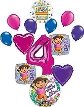 Dora the Explorer Party Supplies 4th Birthday Balloon Bouquet Decorations