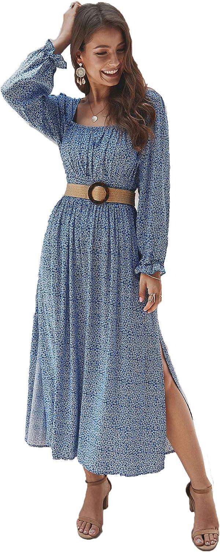 KANCY KOLE Women's Smocked Waist Dress Long Sleeve Ruffle Long Maxi Dress with Side Split S-XXL