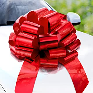 Zoe Deco Big Car Bow (Red, 58 cm) Round Shape Gift Bows, Giant Bow for Car, Birthday Bow, Huge Car Bow, Car Bows, Big Red ...