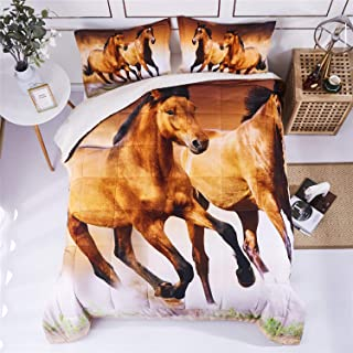 HIG 3D Bedding Set 2pc Twin Size Running Steed Animal Print Comforter Set with One Matching Pillow Cover -Box Stitched Quilted Duvet -General for Men and Women Especially for Children (P29,Twin)