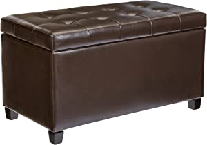 First Hill Matteo Faux-Leather Rectangular Storage Ottoman, Dark Chocolate