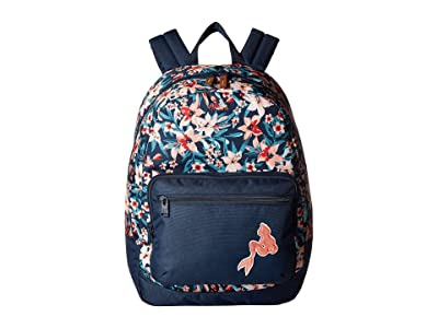 Roxy Kids The Little Mermaid Happy At Home Backpack (Dress Blues Sebastian Floral) Backpack Bags