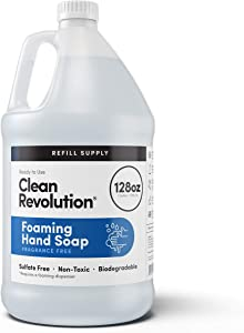 Clean Revolution Foaming Hand Soap Refill Supply | Gentle, Moisturizing & Eco-Friendly | Ready to Use | Unscented | 128 Fl Oz (1 Gallon),Clear,Fragrance Free (CR-128RS-FHS-1UNSCENT)