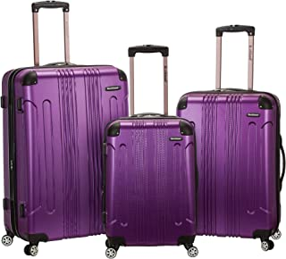 Rockland London Hardside Spinner Wheel Luggage, Purple, 3-Piece Set (20/24/28)