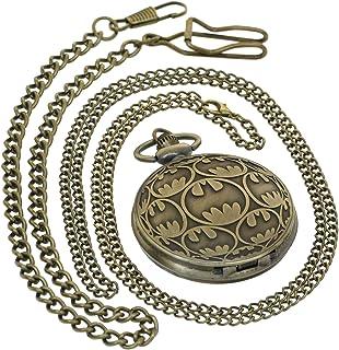 Vintage Movie Quartz Pocket Watch Bronze Batman Watches with 1 PC Necklace Chain 1 PC Clip Key Rib Chain