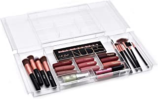 Expandable Drawer Organizer - Customizable Makeup Vanity Organizing Storage Tray for Bathroom, Bedroom and Desk Drawers - ...
