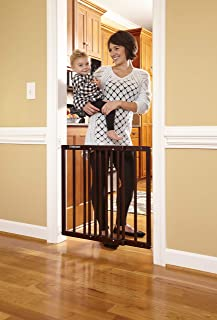 Storkcraft Easy Walk-Thru Wooden Safety Gate, Espresso Adjustable Baby Safety Gate For Doorways and Stairs, Great for Children and Pets