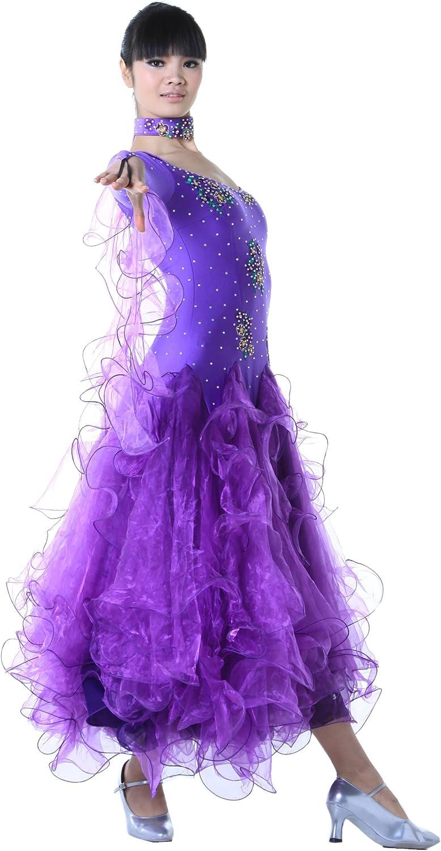 colorfulworld Lady Ballroom Modern Waltz Tango Dance DressOver all dress Pulpre