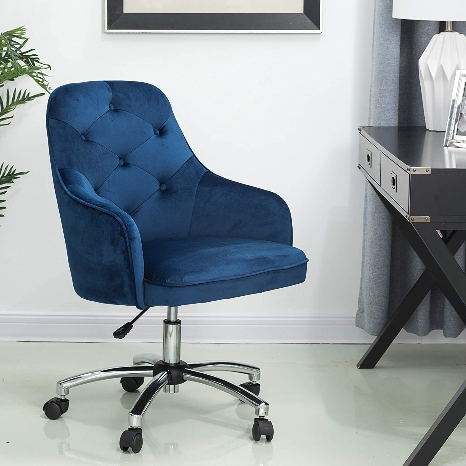 Glitzhome Home Office Chair Adjustable Mid-Back Velvet Ergonomic Desk Chair Comfortable Computer Chair with Lumbar Support Modern Rolling Swivel Chair with Armrest, Navy Blue